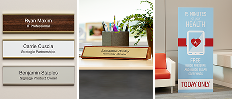 Our collection of sturdy signs can give clear direction or add a professional look to any office.