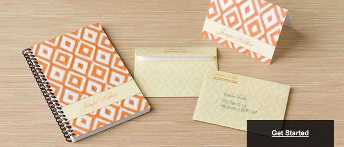 Orange Notebooks & Cream Envelopes