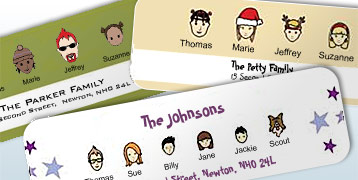 christmas products cards gift tags christmas With caricature return address labels